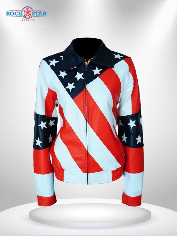 American Flag Women's Bikers Leather Jacket