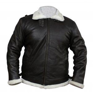 B3 White Fur Inside Winter Faux Leather Jacket
