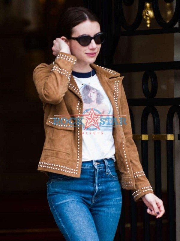 Emma Roberts Singer Actress Brown Leather Jacket Rockstar Jacket