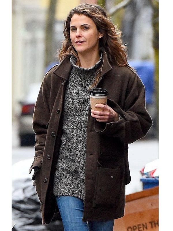 Keri-Russell-Autumn-Style-Brown-Wool-Coat