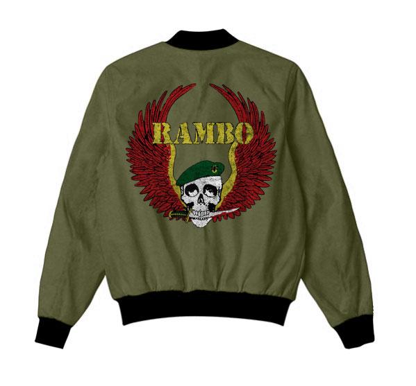 Sylvester Stallone Rambo 5 Last Blood Skull Bomber Green Jacket