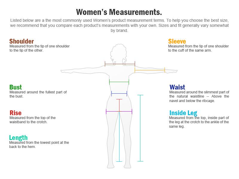 Rockstar Jackets Women's Measurements