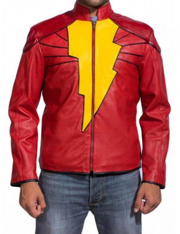 Zachary Levi Shazam Red Leather super hero Jacket