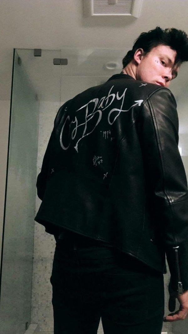 5SOS ashton cry baby Black leather jacket