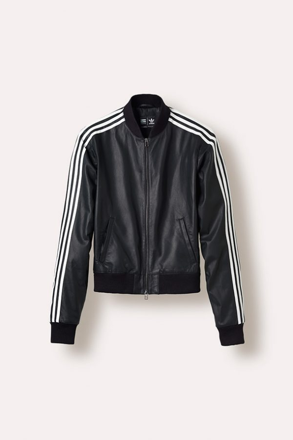 Adidas X Pharrell White Stripes Black Leather Jacket
