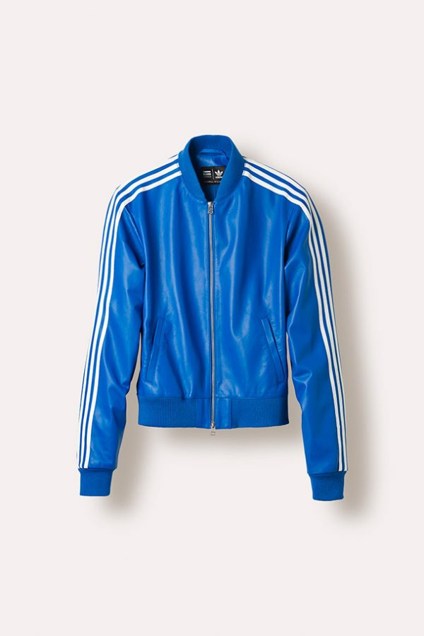 Adidas X Pharrell White Stripes Blue Leather Jacket
