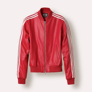 Adidas X Pharrell White Stripes Red Leather Jacket