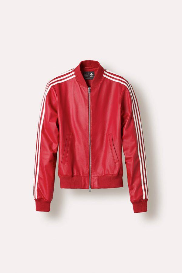 Adidas X Pharrell White Stripes Red Leather Jacket