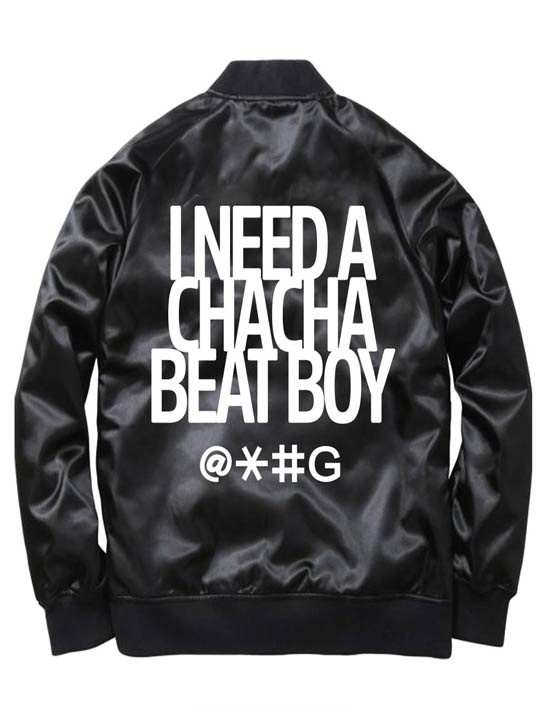 Black Cha Cha Beat Boy Bomber Jacket