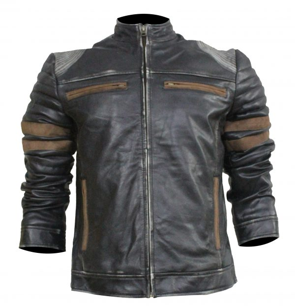 Brown Stripeped Black Leather Jacket