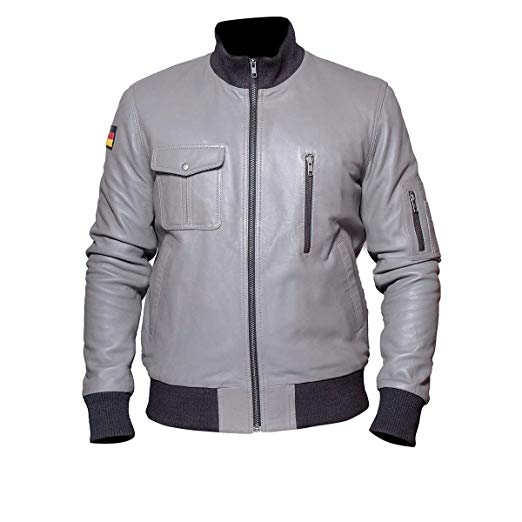 German Flag Grey Luftwaffe Leather Jackit