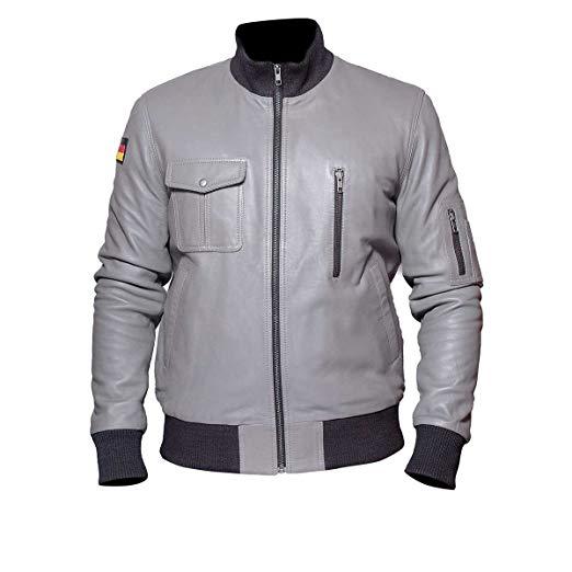 German Flag Grey Luftwaffe Leather Jackit