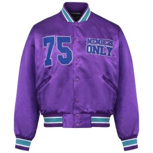 Members Only 75 Pardon My French Purple Satin Bomber Jacket
