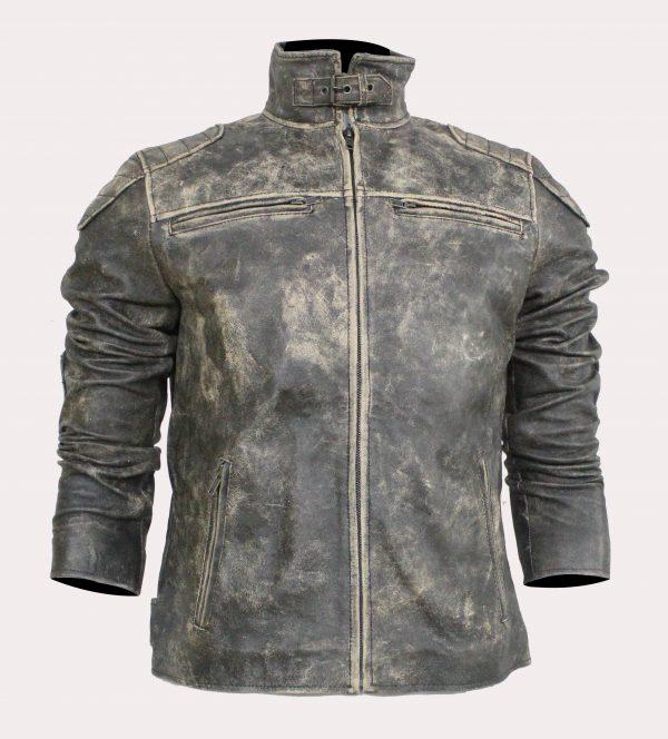 Men's Grey Gernal Biker Leather Jacket