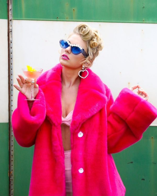Taylor Swift Pink Fur Coat
