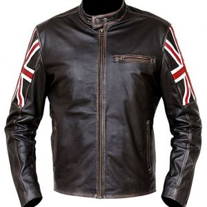 Vintage Distressed Brown Cafe Racer Leather Jacket
