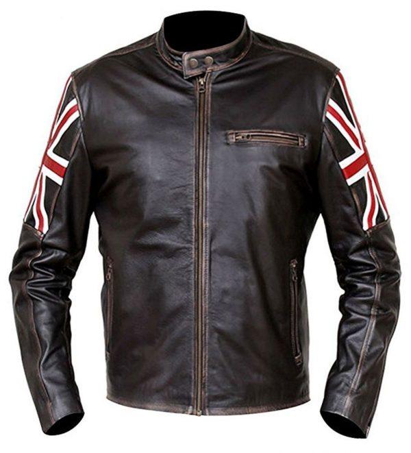 Vintage Distressed Brown Cafe Racer Leather Jacket