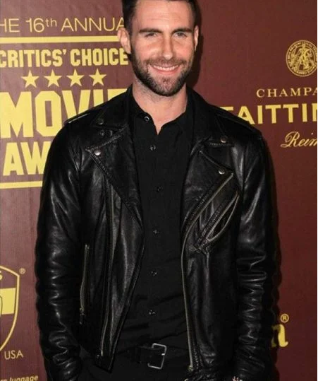 Adam Noah Levine Black Leather Jacket front