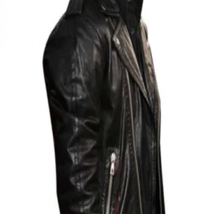 Adam Noah Levine Black Leather Jacket side