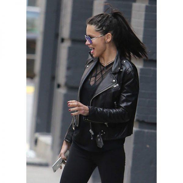 Adriana Lima Black Leather Jacket look
