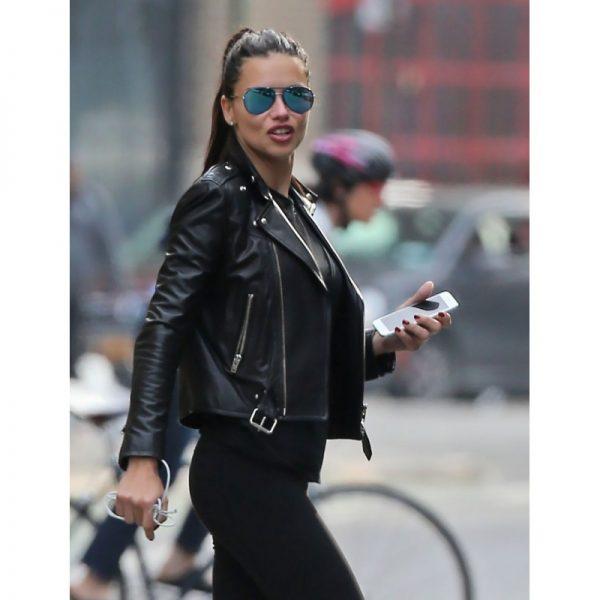 Adriana Lima Black Leather Jacket side