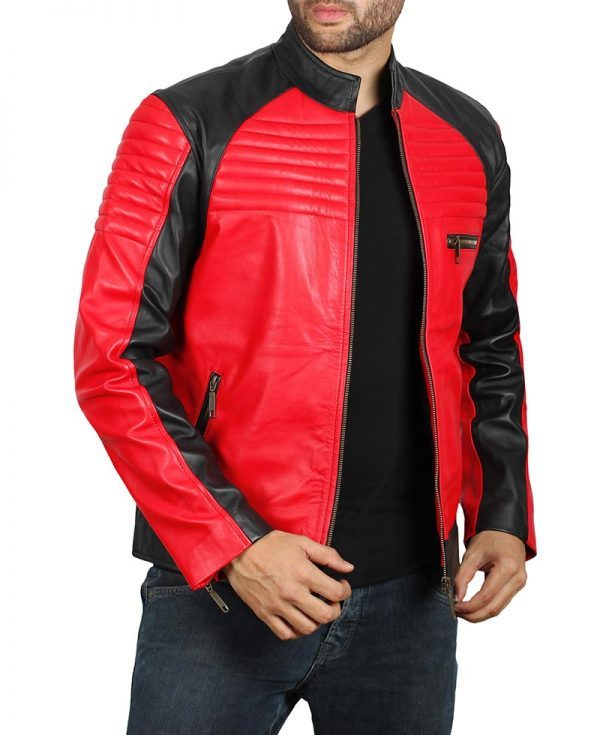 Andrew Mens Vintage Leather Biker Jacket