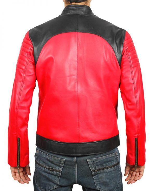 Andrew Mens Vintage Leather Biker Jacket back side