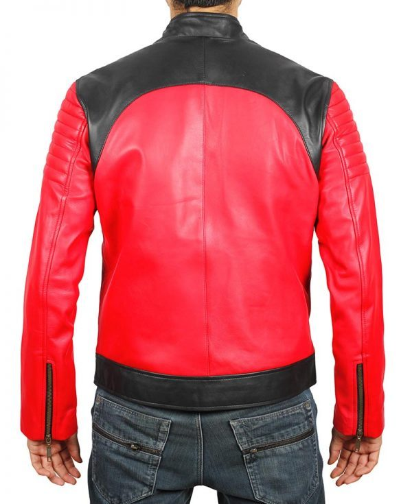 Andrew Mens Vintage Leather Biker Jacket back side