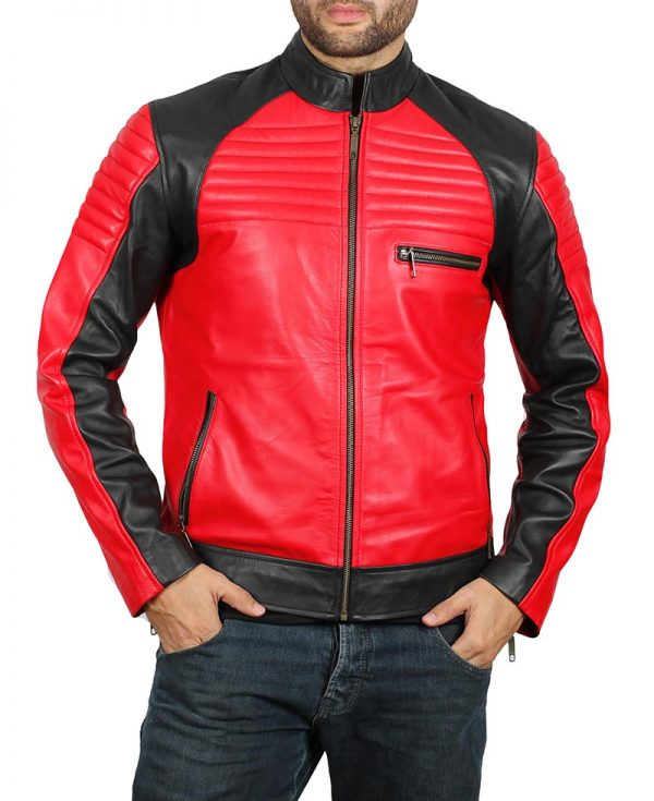 Andrew Mens Vintage Leather Biker Jacket side