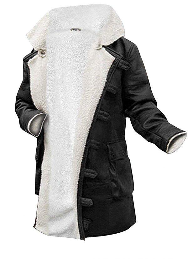 Bane Hardy Dark Knight Rises Black Synthetic Leather Fur Coat