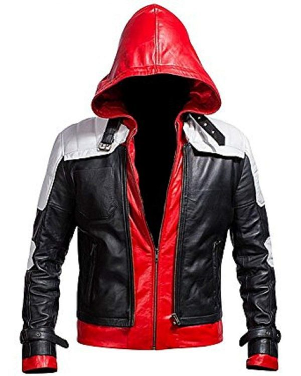 Batman Arkham Knight Red Hood Black & White Synthetic Leather Jacket