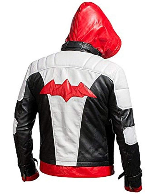 Batman Arkham Knight Red Hood Black & White Synthetic Leather Jacket Back Look