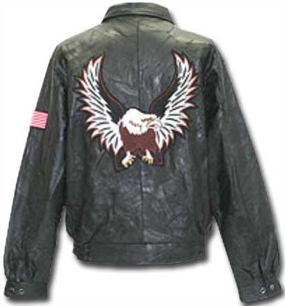 Black Eagle and Flag Leather Jacket back side