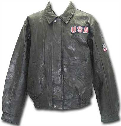 Black Eagle and Flag Leather Jacket front