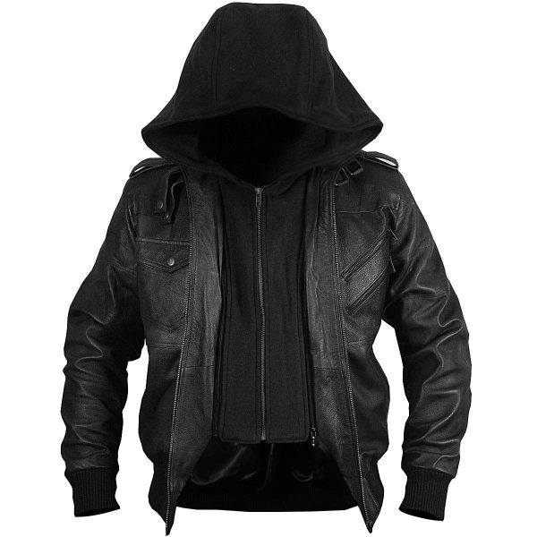 Black Genuine Leather Bomber Style Removable Hood Jacket