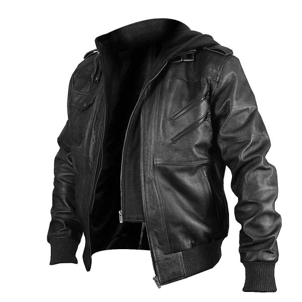 Black Genuine Removable Hood Leather Jacket