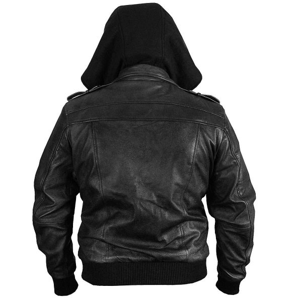 Black Genuine Removable Hood Leather Jacket back side