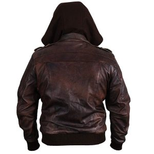 Brown Genuine Motorcycle Bomber Style Removable Leather Jacket back look