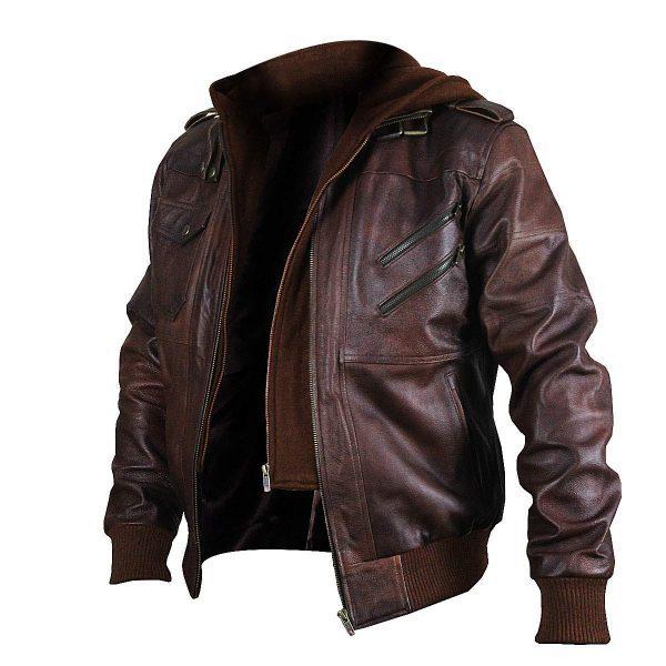 Brown Genuine Removable Hood Leather Jacket