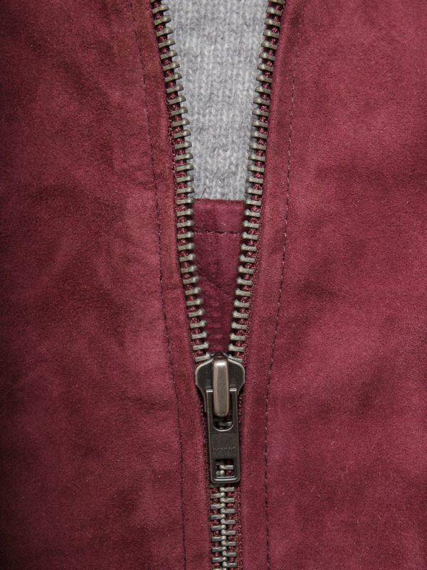 Burgundy Bradstone Suede Bomber leather Jacket