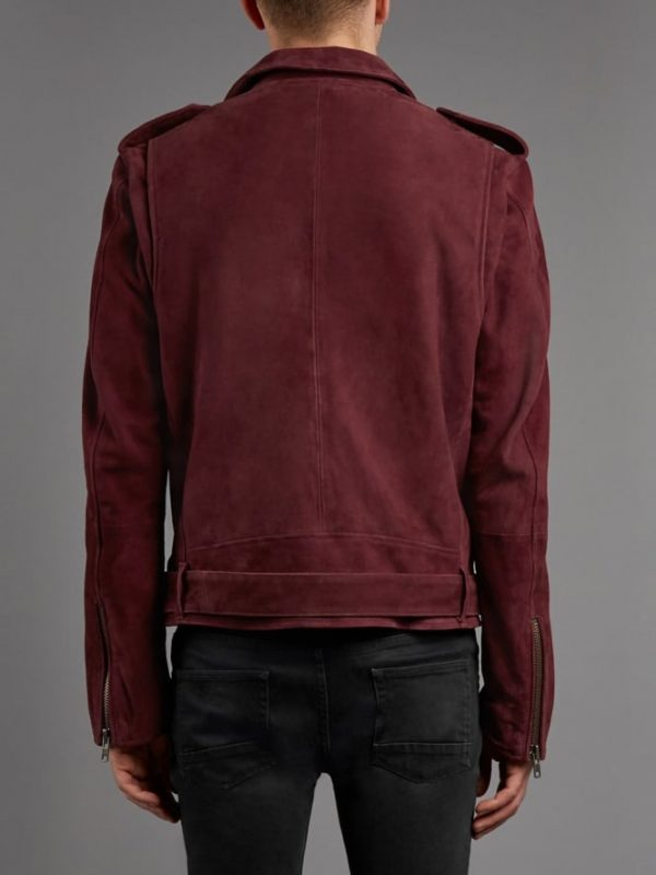 Burgundy Double Rider Leather Jacket back side
