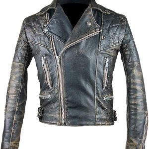 Café Racer Retro 2 Antique Black Distressed Leather Biker Jacket