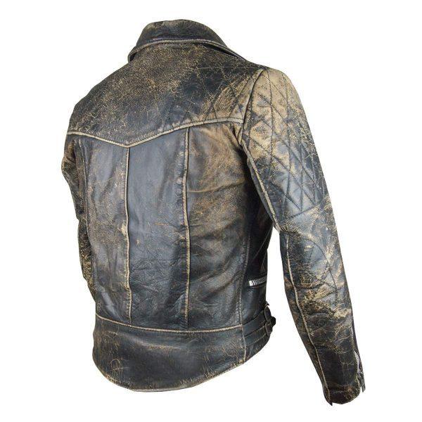 Café Racer Retro 2 Antique Black Distressed Leather Biker Jacket back side
