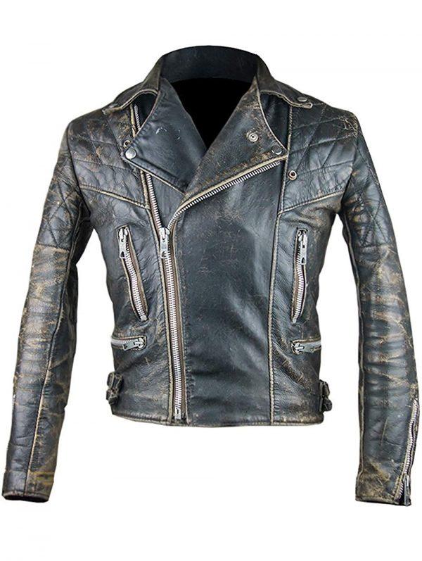 Café Racer Retro 2 Antique Black Distressed Leather Biker Jacket front side
