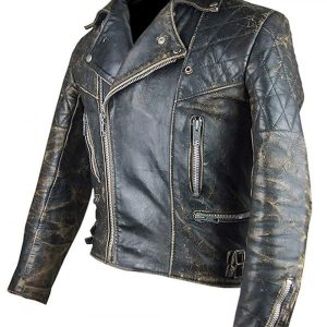 Café Racer Retro 2 Antique Black Distressed Leather Biker Jacket side look