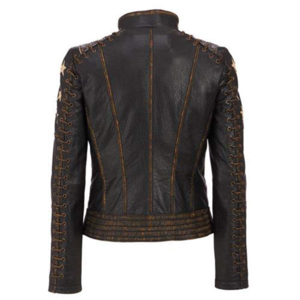 Café Racer Stars Biker Distressed Brown Moto Leather Jacket back side