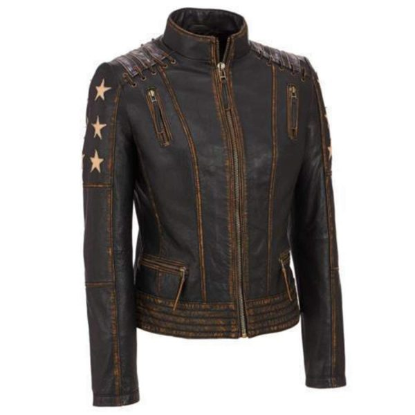 Café Racer Stars Biker Distressed Brown Moto Leather Jacket front side
