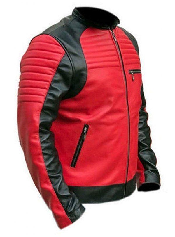 Café Racer Vintage Red and Black Retro Biker Leather Jacket side look