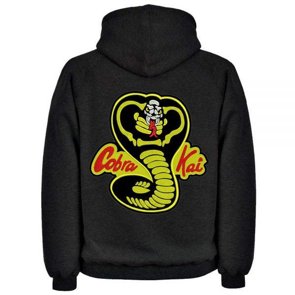 Cobra Kai 80s Snake Logo Black Fleece Hoodie back side