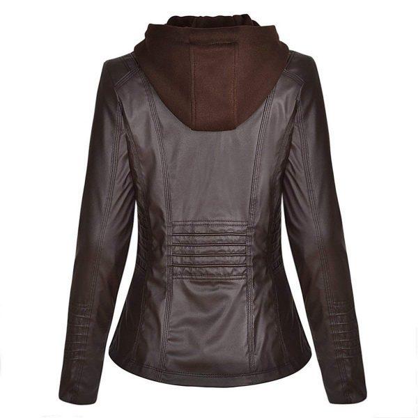 Detachable Zipper Slimfit Genuine Leather Hoodie Jacket back side